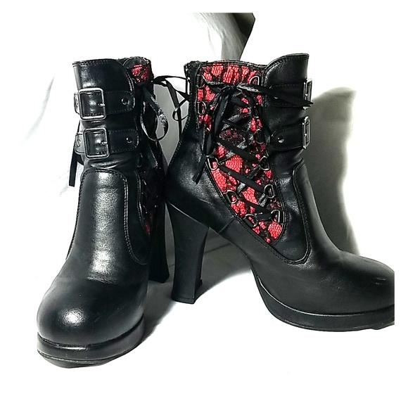 Crypto 51 Black and Red Corset Ankle Boot